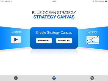 Strategy Canvas app home page. Choose for-profit or non-profit